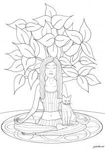 Yoga : Femme & chat
