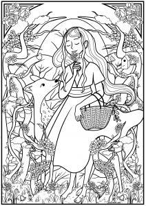 Femme cueillant des fleurs dans la forêt accompagnées par un faon