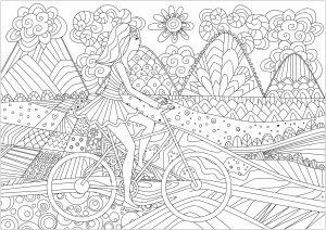 Jeune fille sur un vélo