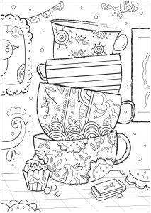 Coloriage tasses