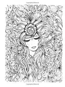Coloriage visage et fleurs