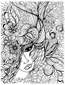 Coloriage visage et vegetations