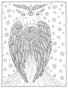 Coloriage adulte ange de la liberte par deborah muller