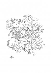 coloriage adulte annee du singe 1