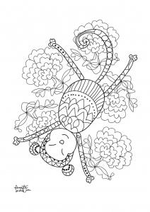 coloriage adulte annee du singe 4
