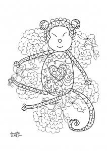 coloriage adulte annee du singe 5