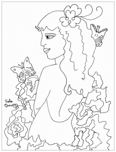 coloriage adulte beaute de profil