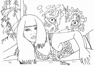 coloriage adulte beaute espionnee