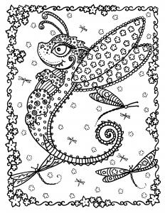Coloriage adulte dragon papillon par deborah muller