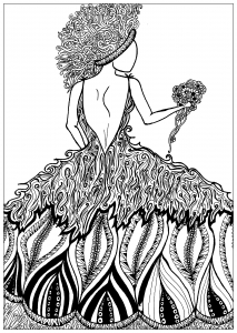 coloriage-adulte-elanise-art-femme-et-robe-fleurie free to print