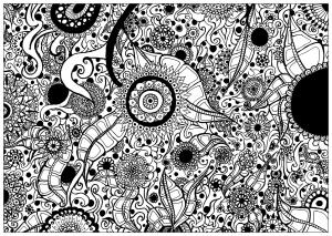 Coloriage adulte elanise art papier peint fleuri
