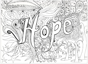 coloriage adulte hope free to print