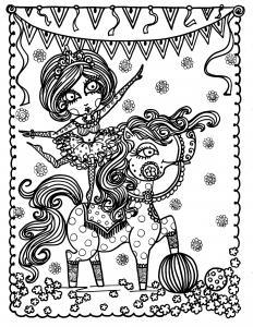 Coloriage adulte jeune acrobate sur un cheval par deborah muller
