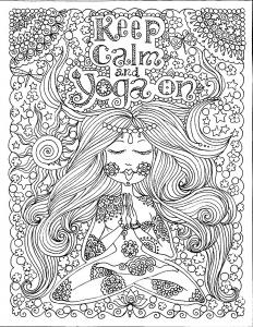 Coloriage adulte keep calm and do yoga par deborah muller