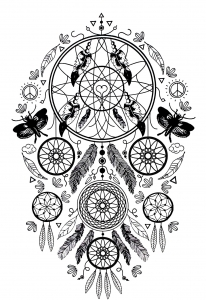 coloriage-complexe-attrape-reve-plumes-et-papillons free to print