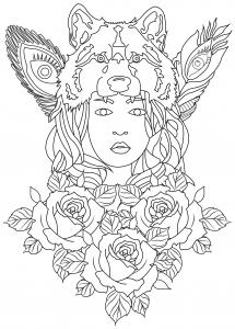 Anti stress art th rapie coloriages difficiles pour - Coloriage magique loup ...