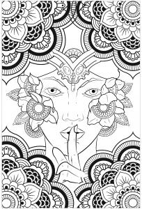 femme silencieuse avec mandalas - Dessins Anti Stress