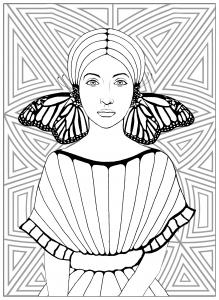 coloriage-la-fille-aux-papillons free to print