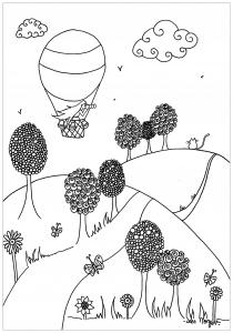 Coloriage montgolfiere au dessus des plaines par Leen Margot