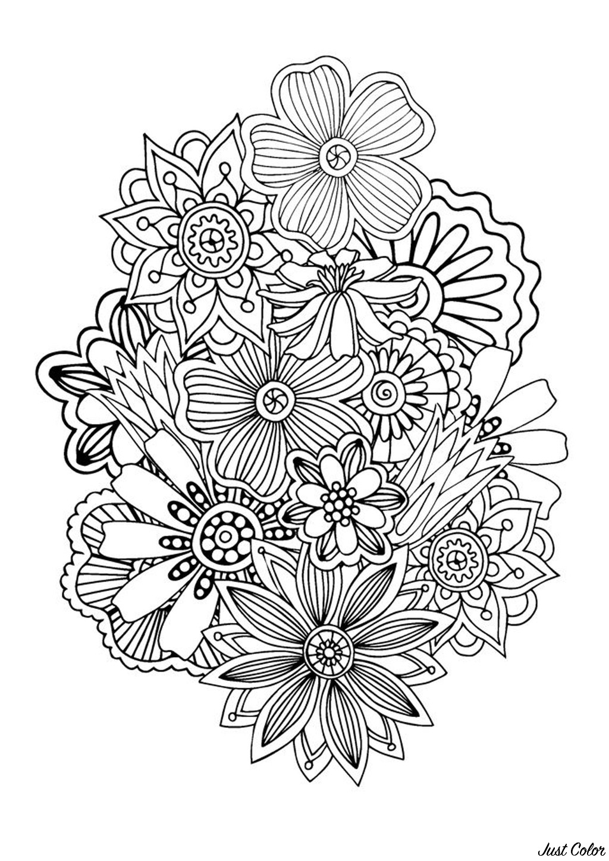 Coloriage 100% Anti-stress : motifs abstraits d'inspiration florale : n°1