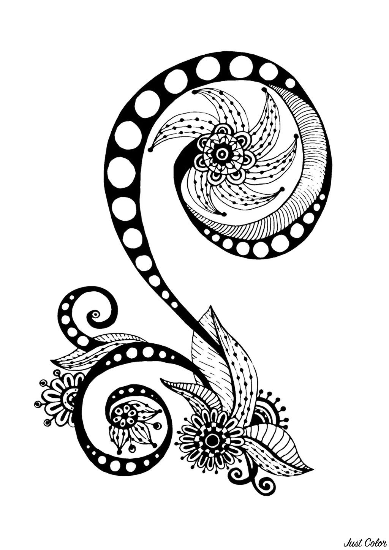 Coloriage 100% Anti-stress : motifs abstraits d'inspiration florale : n°11