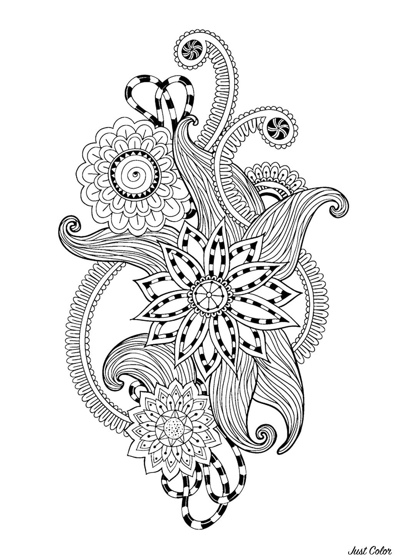 Coloriage 100% Anti-stress : motifs abstraits d'inspiration florale : n°12