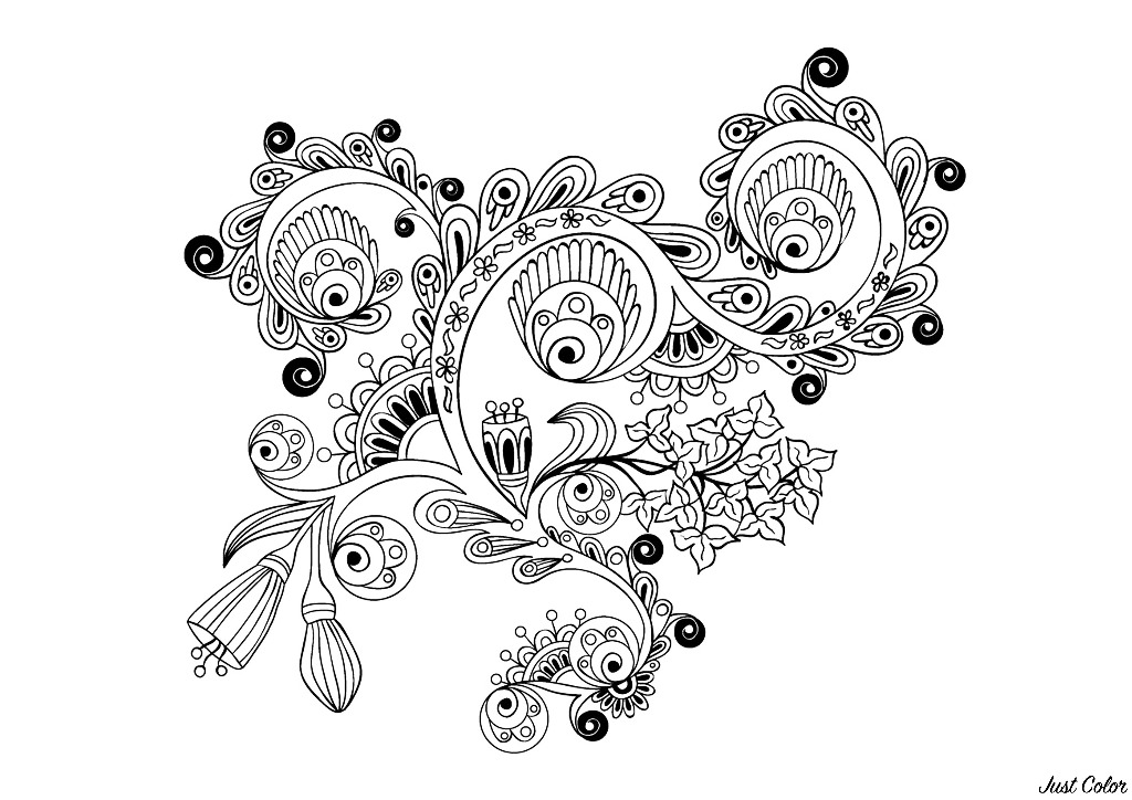 Coloriage 100% Anti-stress : motifs abstraits d'inspiration florale : n°14