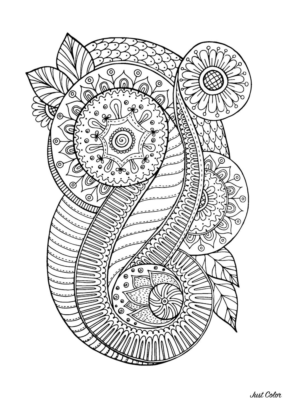 Coloriage Adulte A Imprimer Abstrait.Zen Antistress Motif Abstrait Inspiration Florale 4 Anti