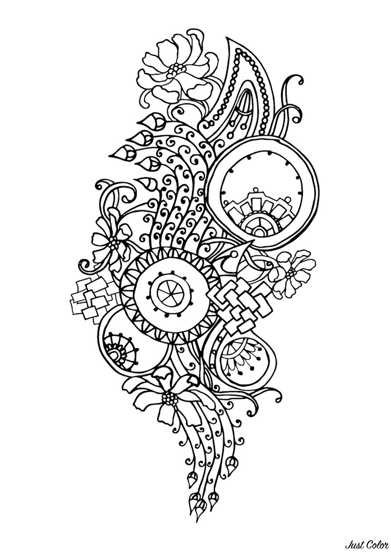 Coloriage 100% Anti-stress : motifs abstraits d'inspiration florale : n°6