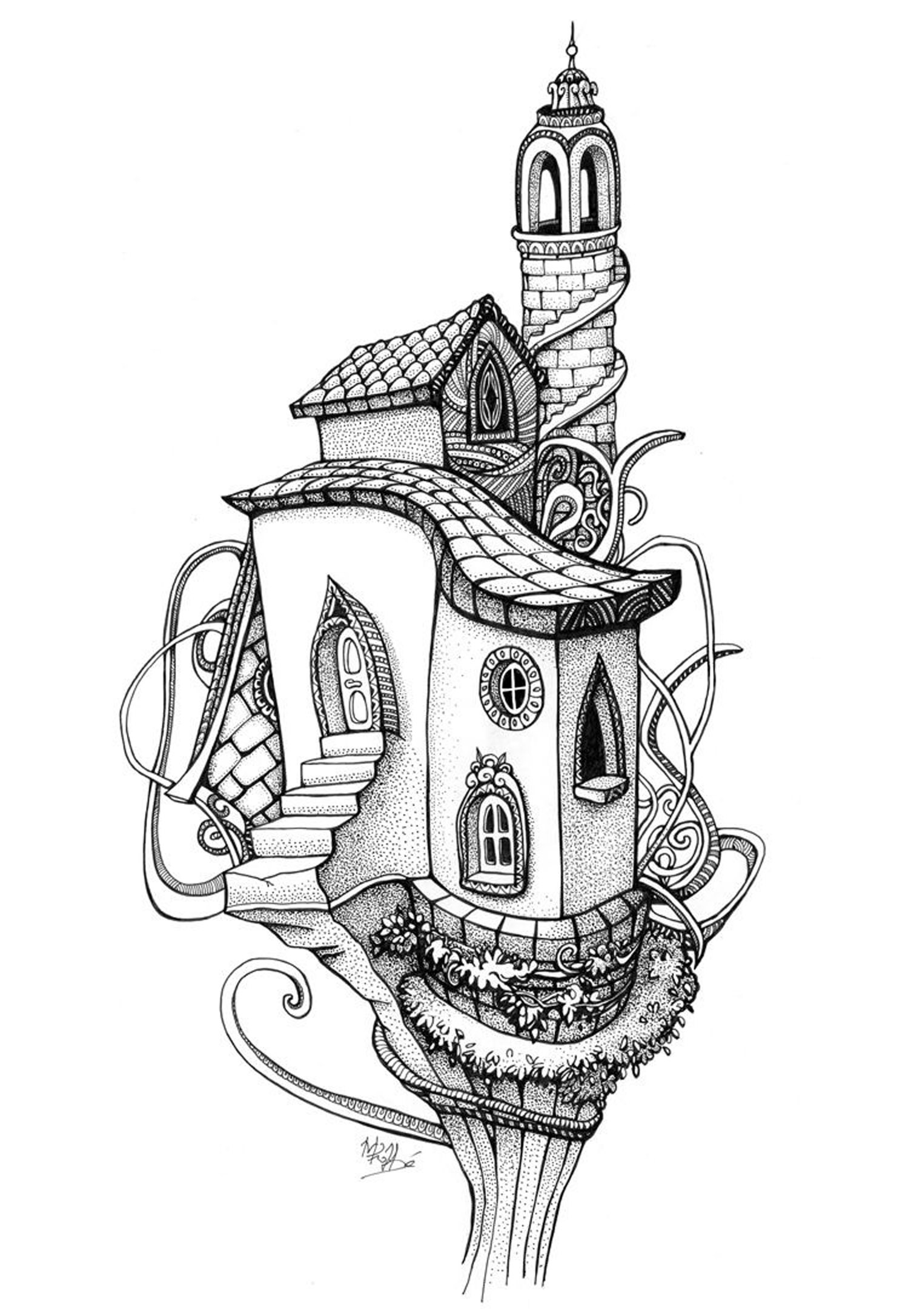 coloriage adulte architecture maison arbre