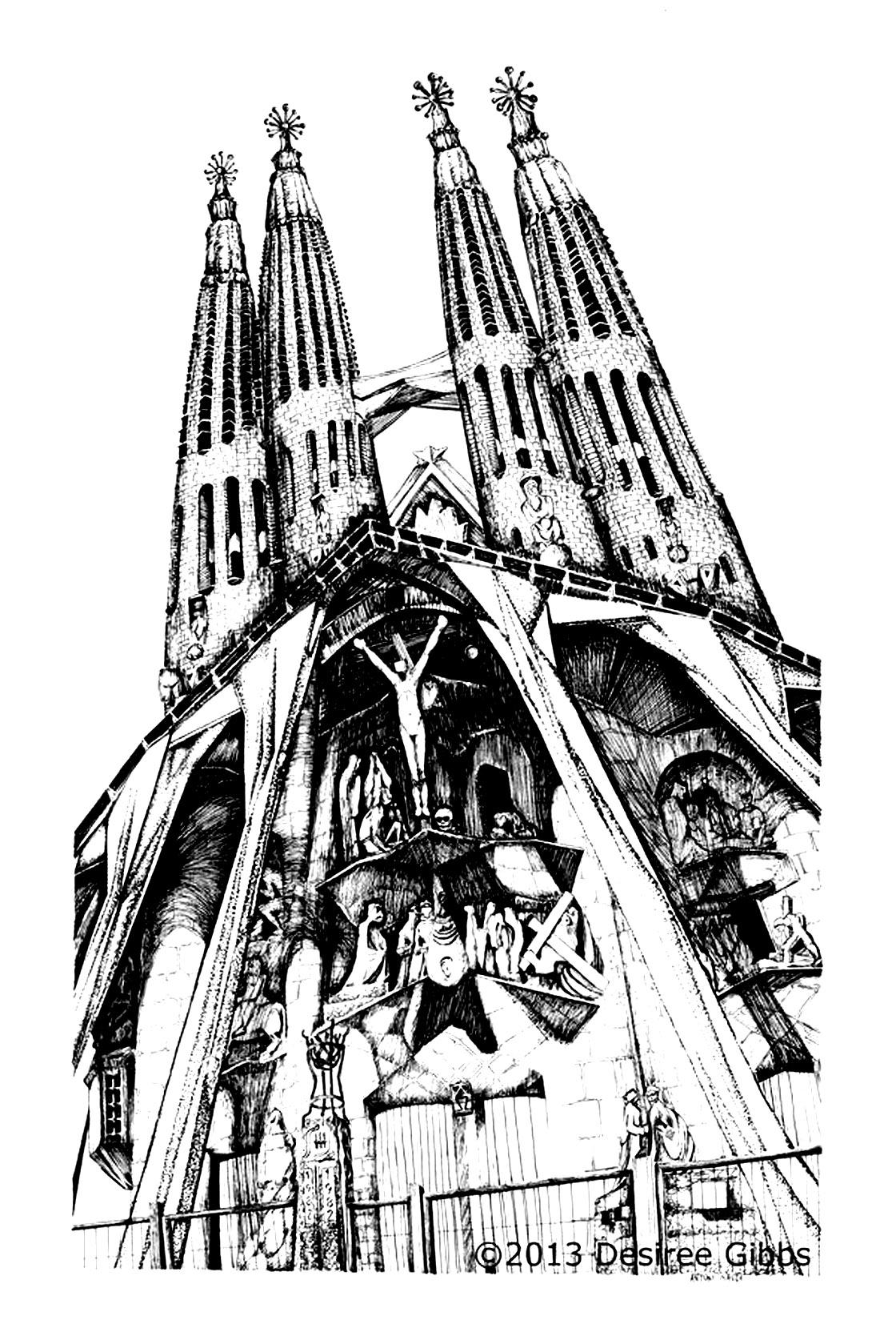 Dessin de la célèbre cathédrale inachevée de Gauidi : la Sagrada Familia à Barcelone