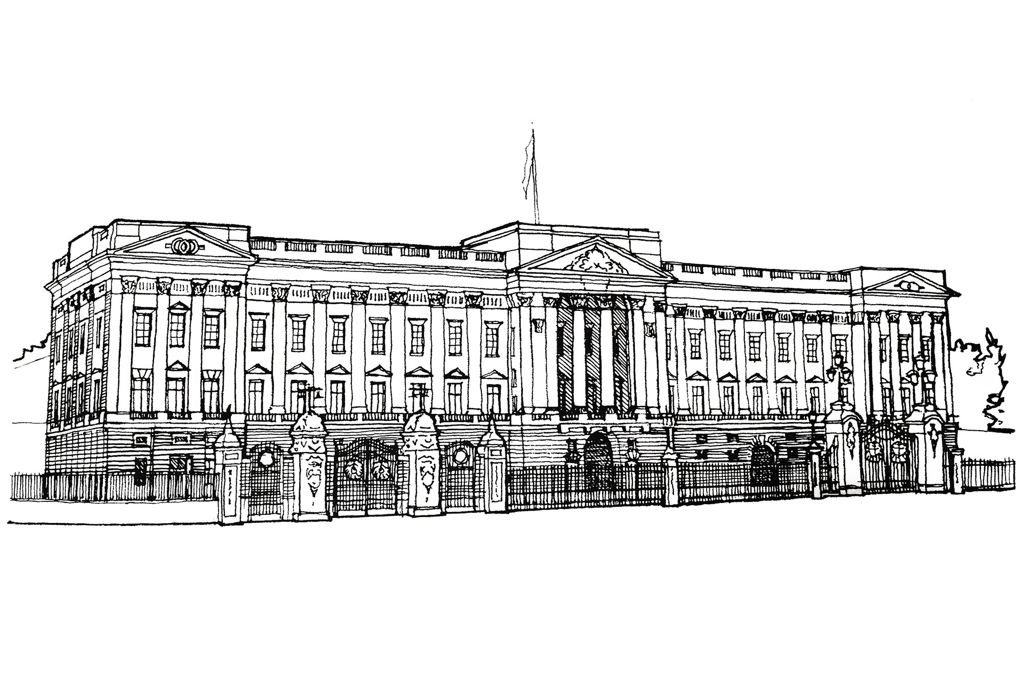 Une illustration de 1920 représentant Buckingham Palace à Londres