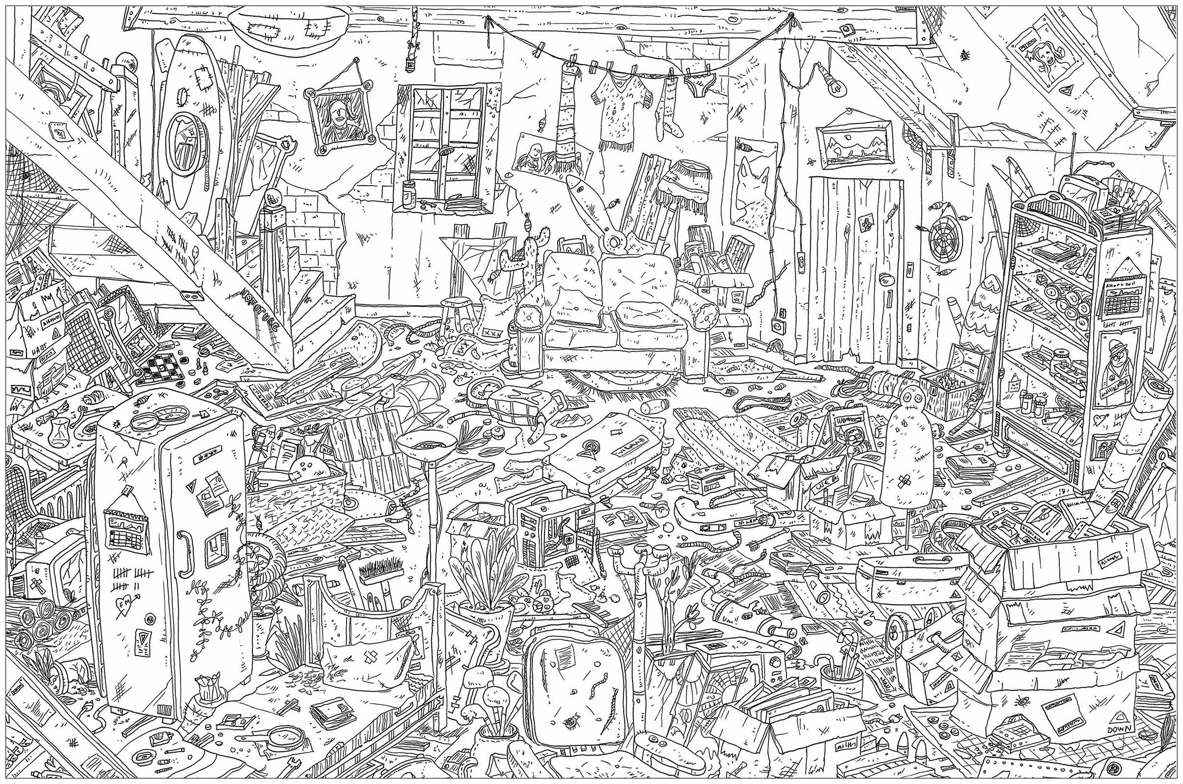 'Le grenier', un coloriage au style très 'Où est Charlie ?'