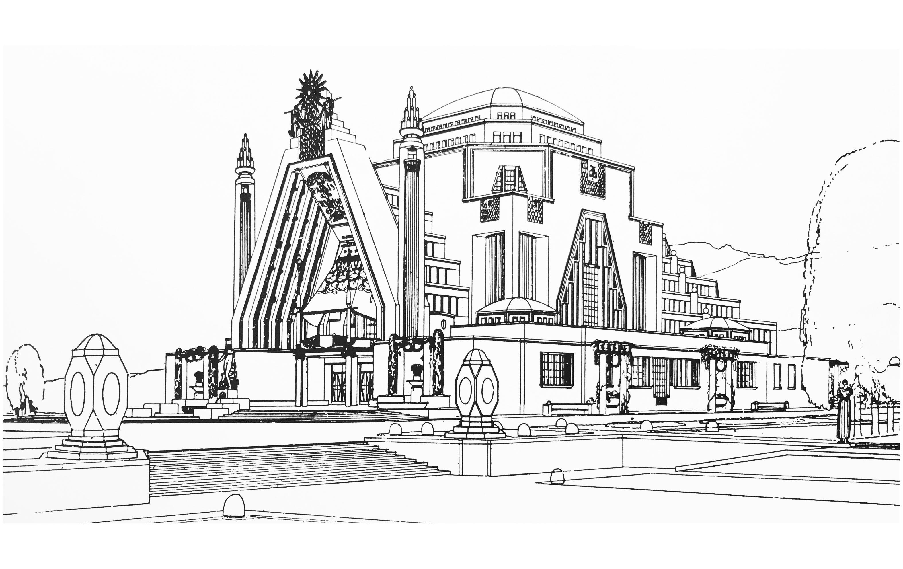 Dessin monument art deco pavillon du tourisme a l exposition de la houille blanche grenoble 1925