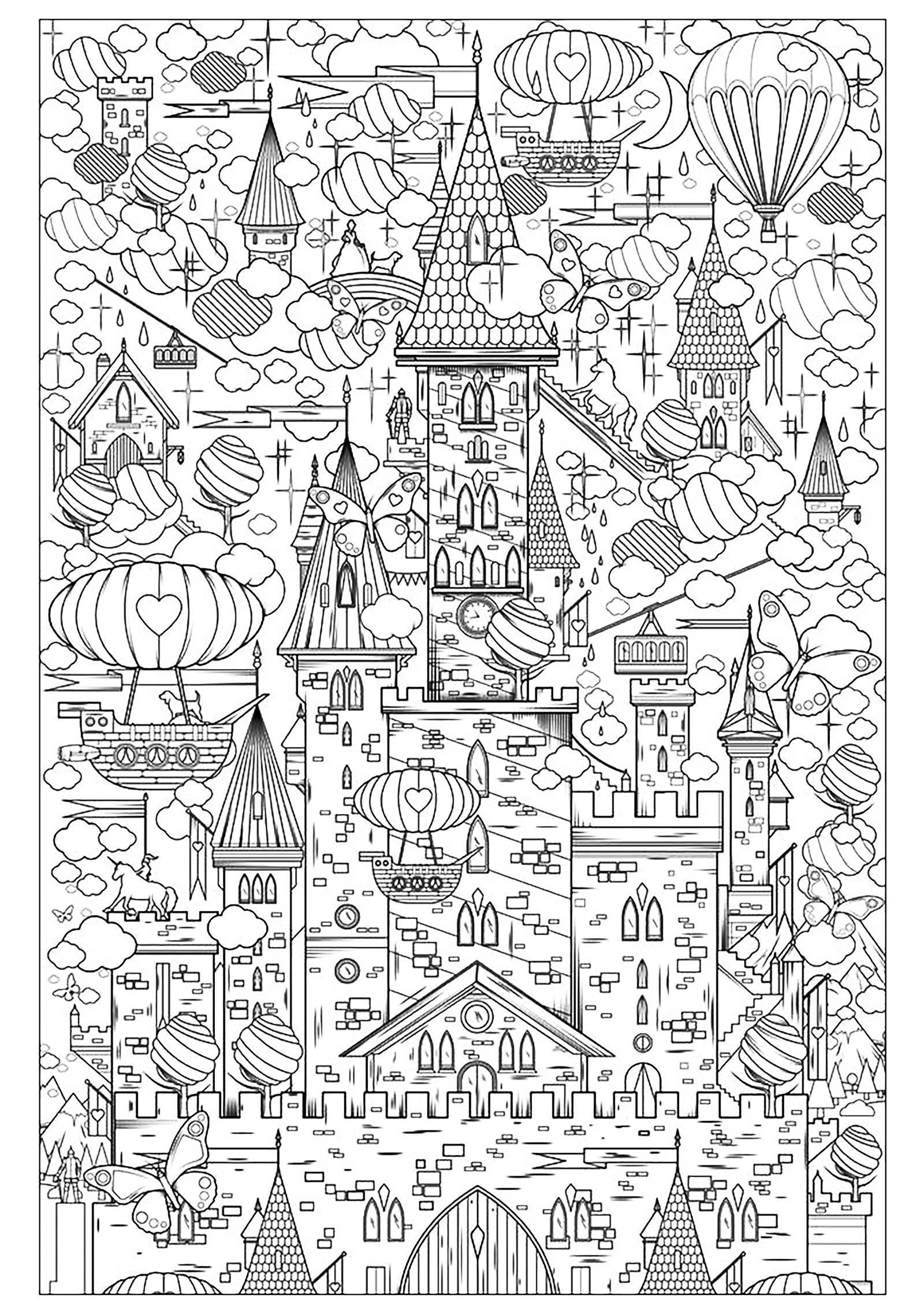 Incroyable chateau dessiné à la main