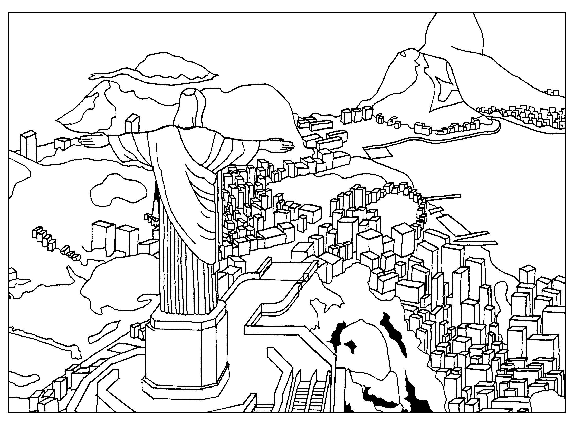 Vue de la ville de Rio De Janeiro avec en premier plan la Statue du Christ rédempteur, par Sofian