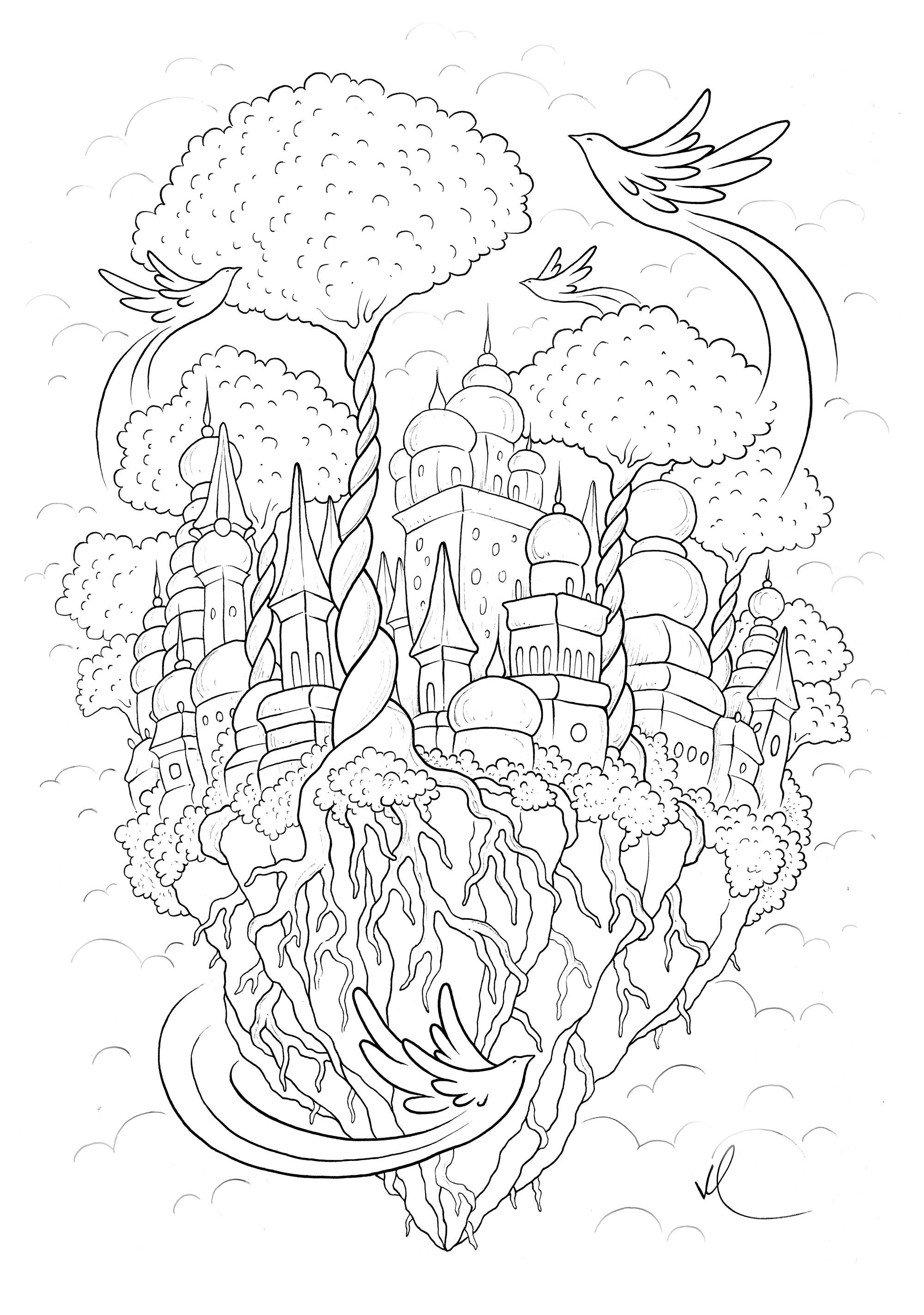 Cité flottant dans le ciel