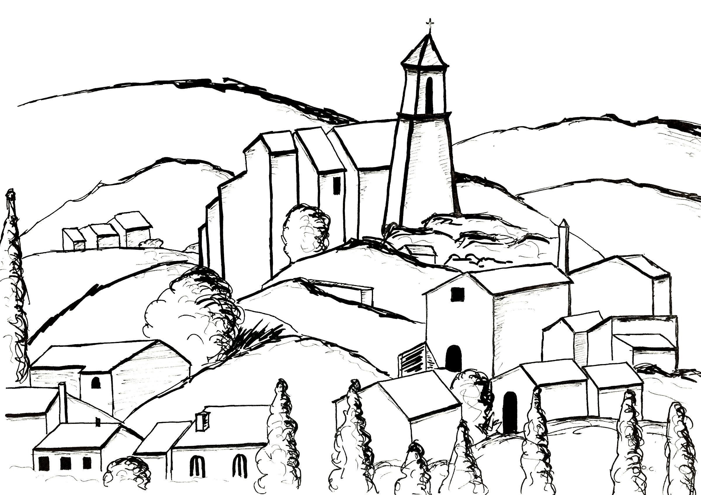 Coloriage inspiré par une toile de Paul Cézanne : Gardanne (version 3)