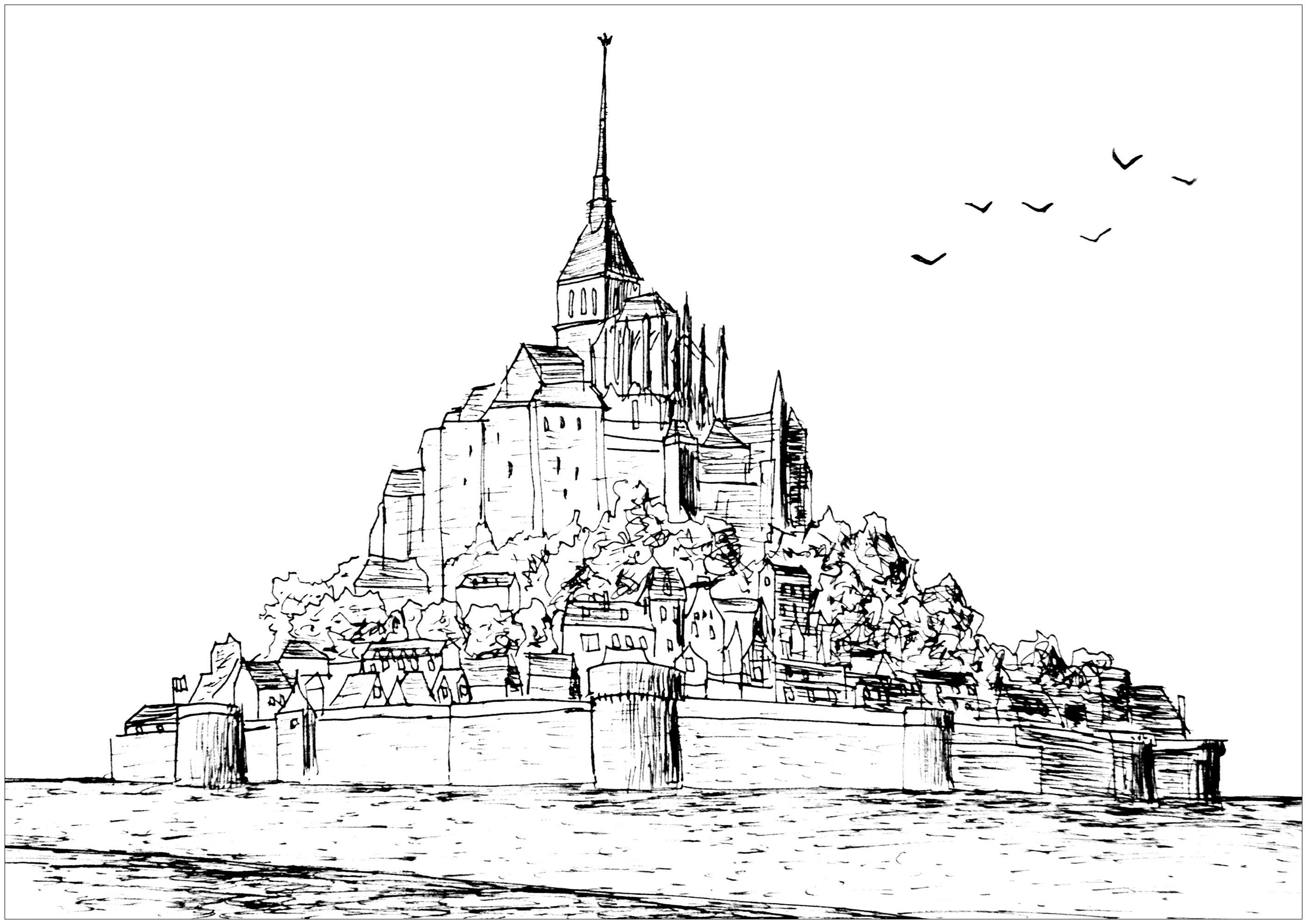 Dessin original représentant le Mont-Saint-Michel (Normandie, France). Élément majeur, l'abbaye et ses dépendances sont classées au titre des monuments historiques par la liste de 1862 (60 autres constructions étant protégées par la suite). L'îlot et le cordon littoral de la baie figurent depuis 1979 sur la liste du patrimoine mondial de l'UNESCO.