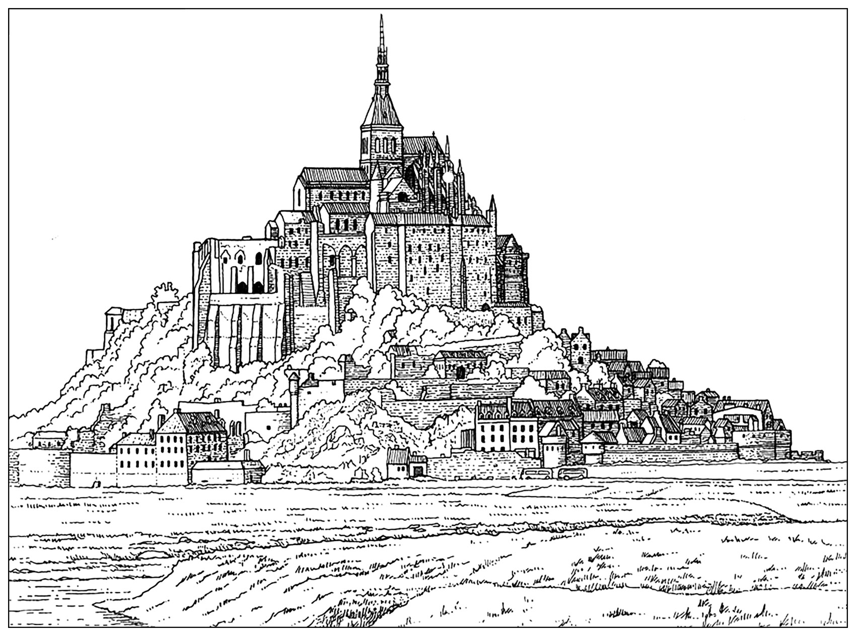 Mont saint michel france architecture et habitation coloriages difficiles - Architecture pour enfants ...