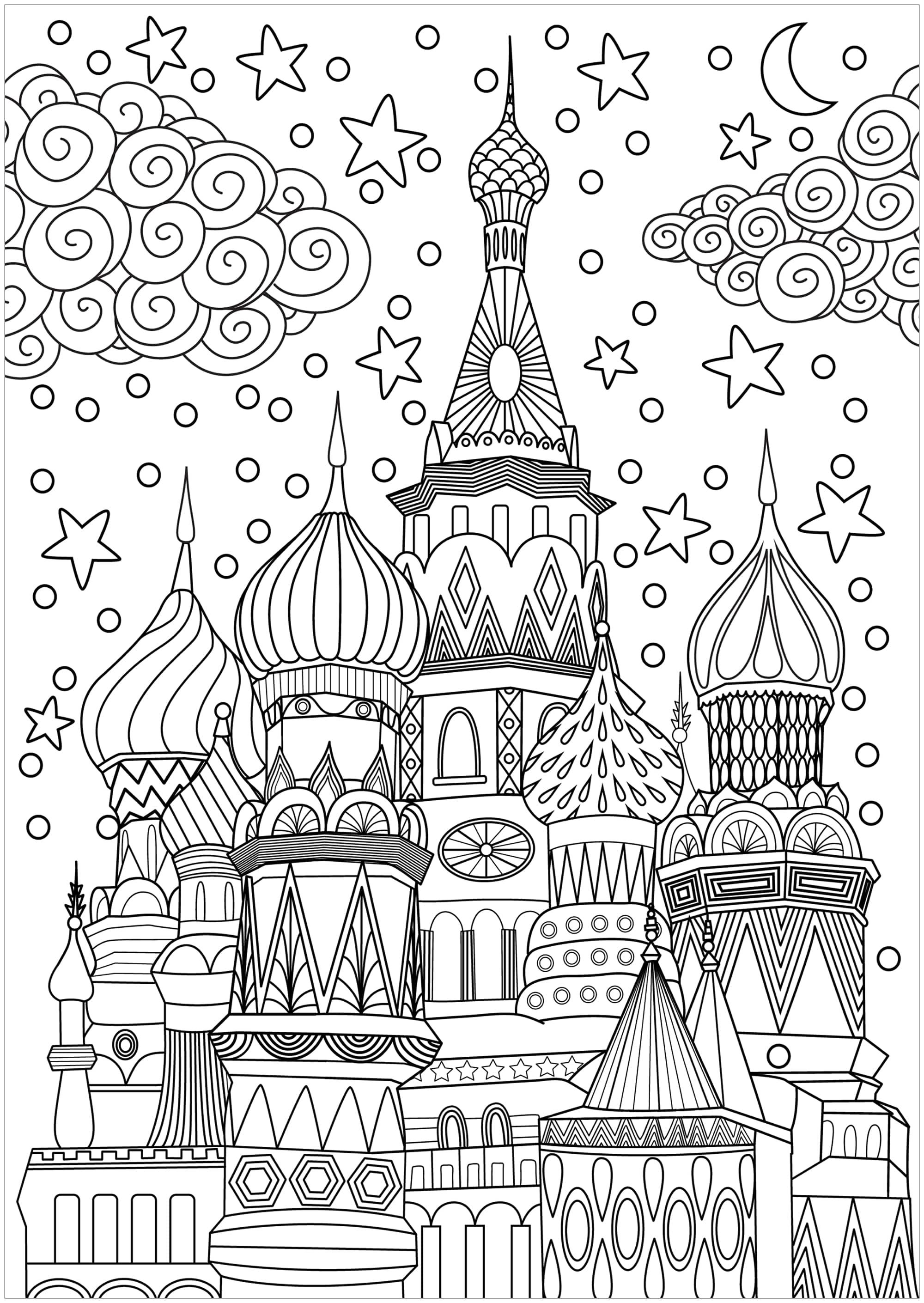 Dessin original à colorier représentant la Place Rouge à Moscou, avec un ciel plein d'étoiles, de nuages et de neige.