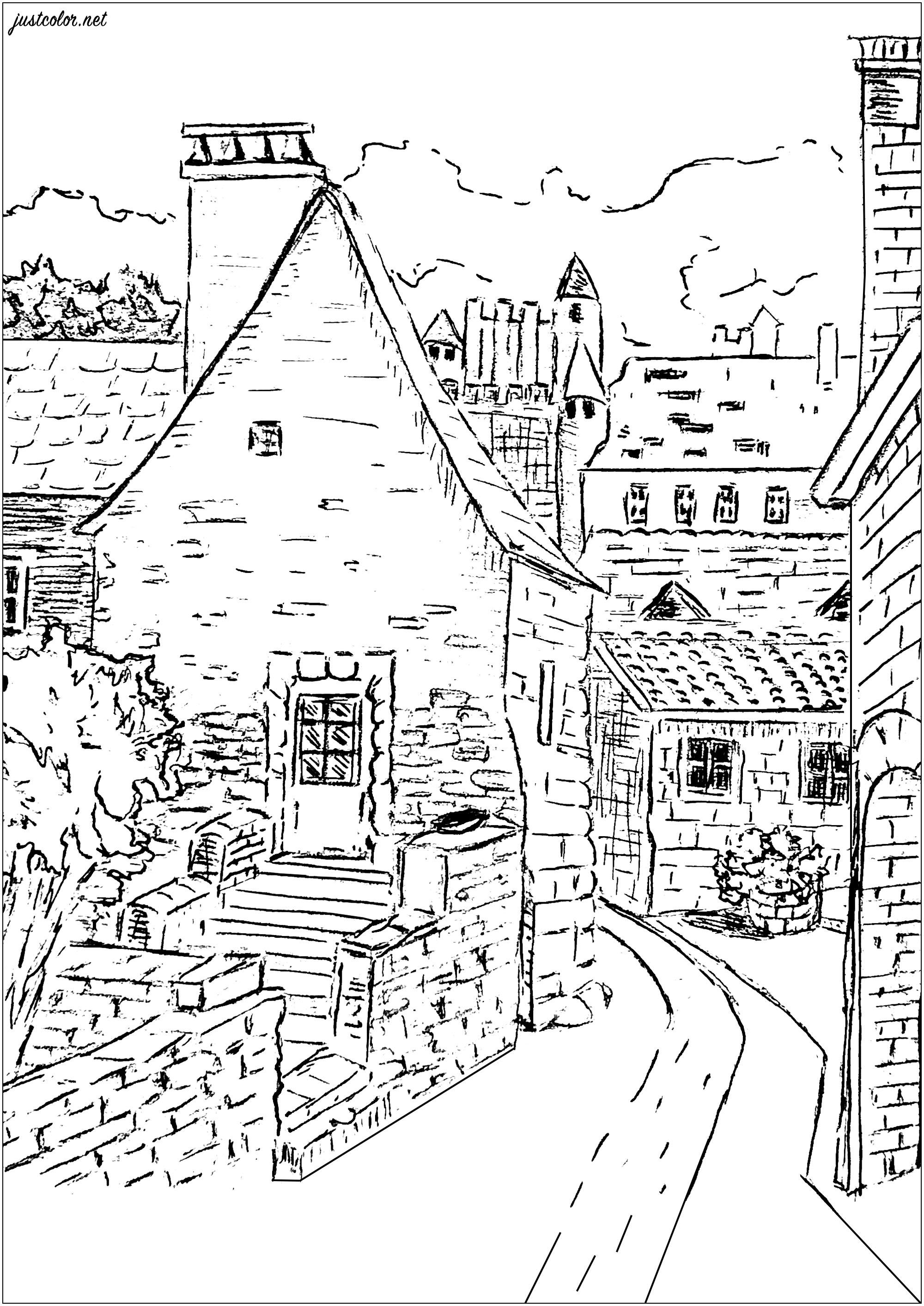 Visitez (avec vos crayons et feutres) ce joli petit hameau de Dordogne, ses rues étroites et jolies maisons ...