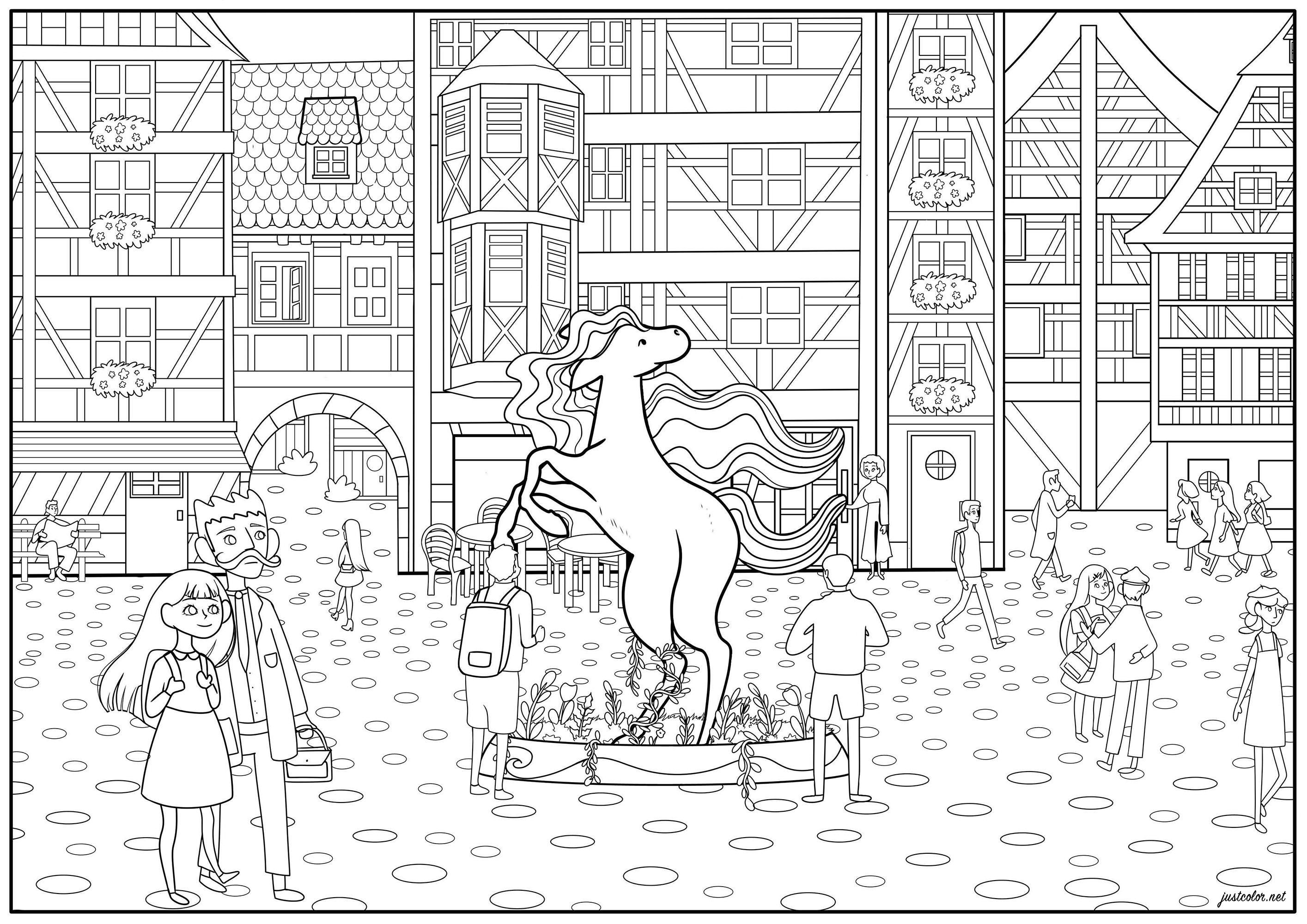 Page à colorier d'un après-midi ensoleillé dans un centre ville aux maisons à colombages, avec une jolie statue de licorne