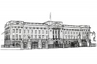 Coloriage adulte buckingham palace illustration 1820