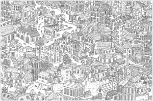 coloriage-adulte-complexe-ville free to print