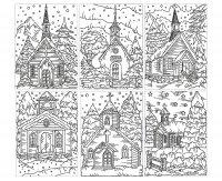 coloriage-adulte-eglises-sous-la-neige free to print