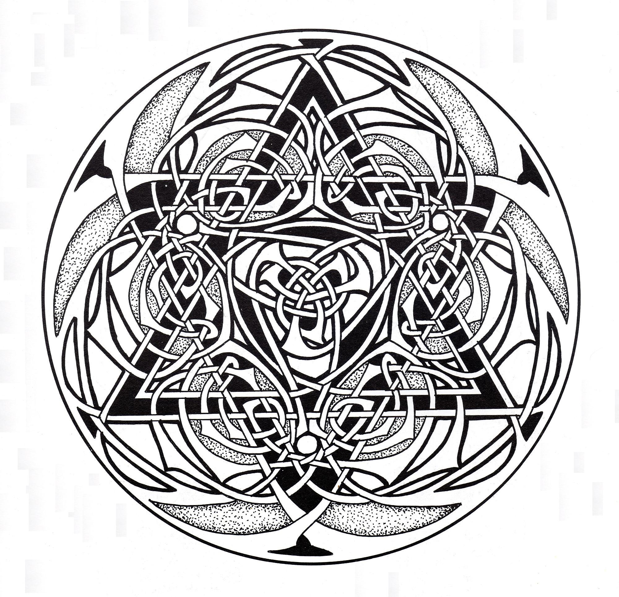 Art celtique : éléments entrelacés ressemblant à un Mandala