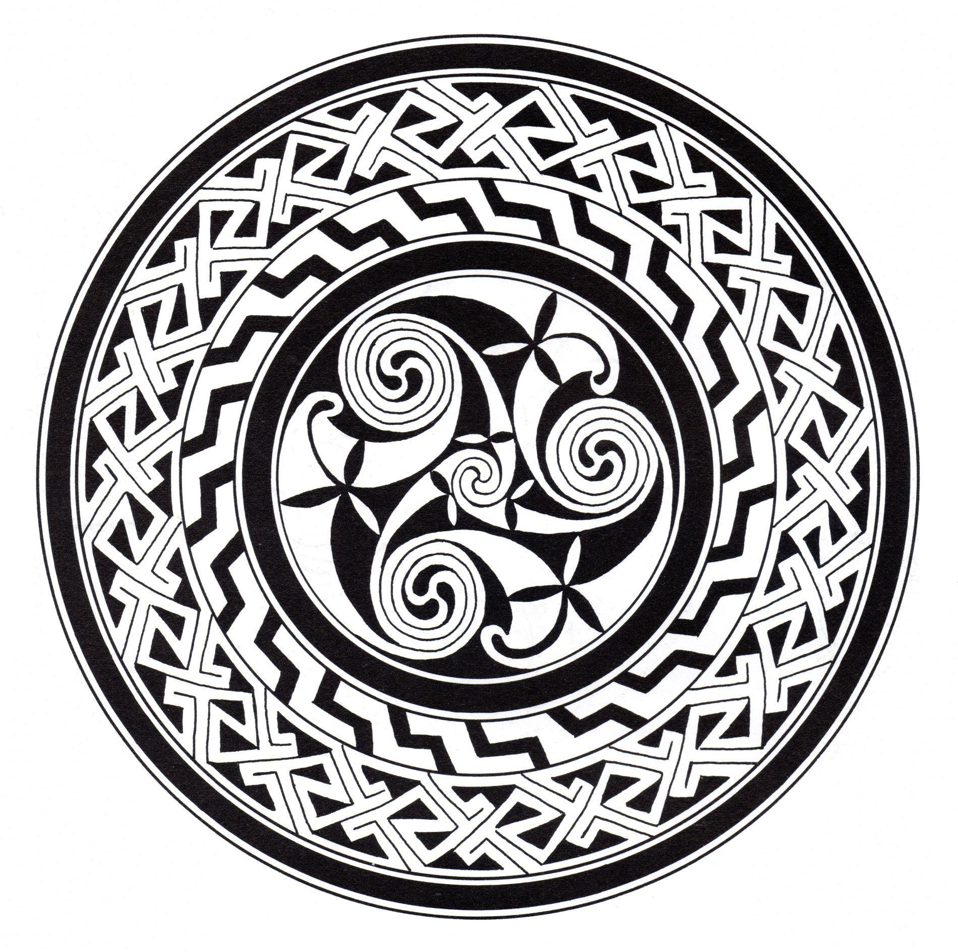 Motifs complexes formant un Mandala celtique