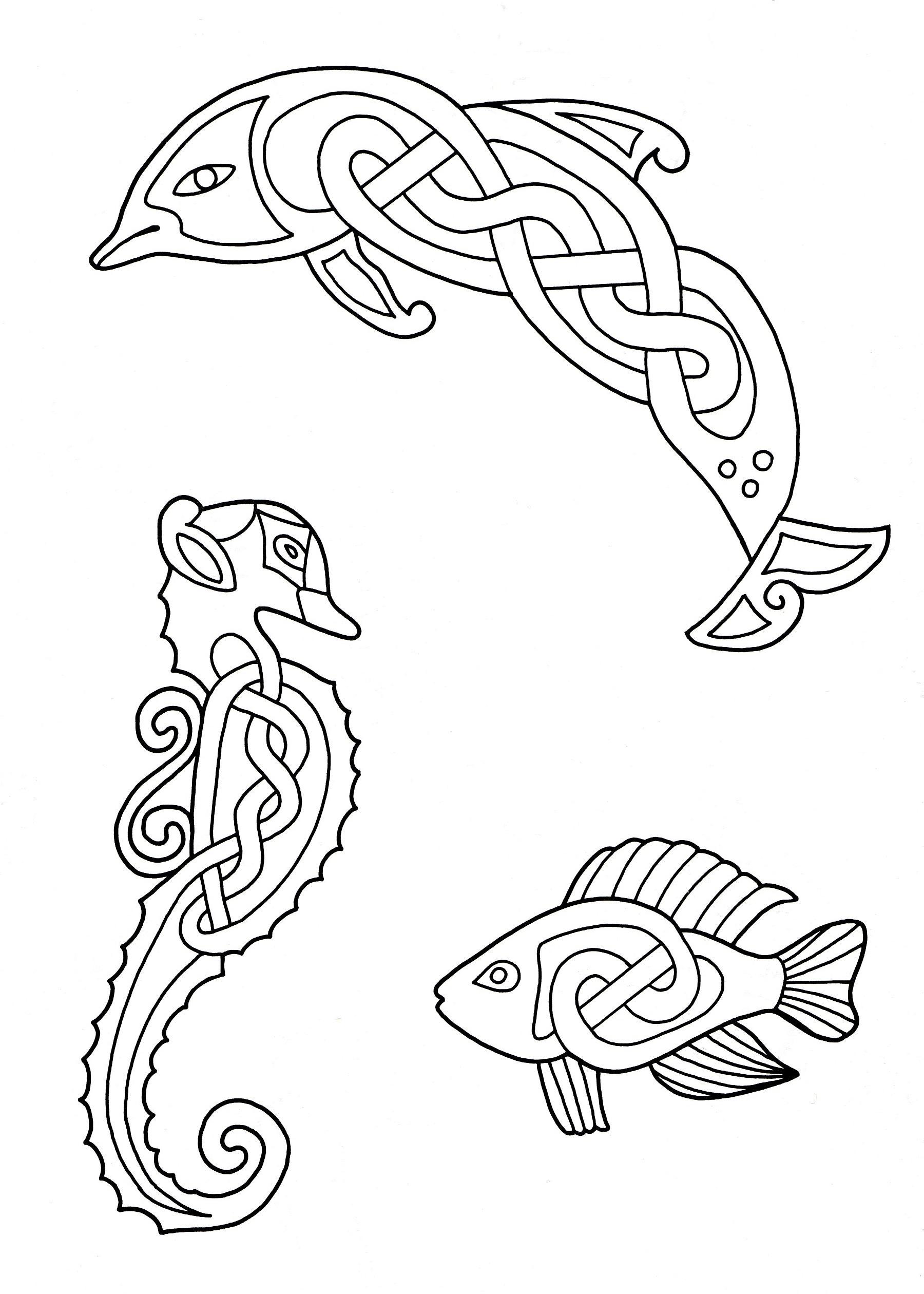 3 animaux dessinés avec des éléments entrelacés