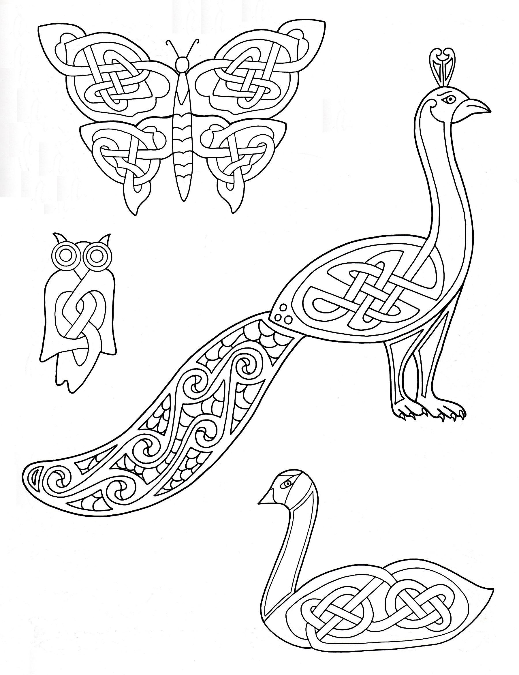 4 animaux dessinés avec des éléments entrelacés